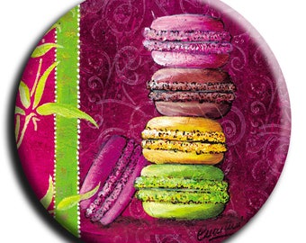 Magnet magnet 4 macaroons and leaf bamboo diameter 45 mm