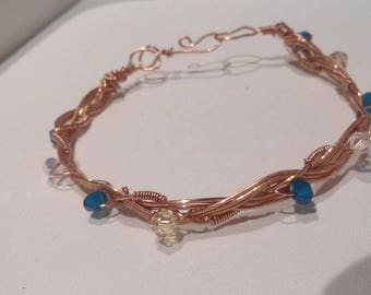 Copper and crystal bracelet