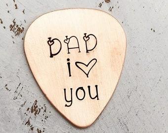 Guitar Pick for Dad - Dad I love You - Custom Copper Guitar Pick - Hand Stamped Guitar Pick - Engraved Pick - Mens Gift