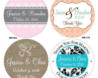 200 - 1.25 inch Glossy Waterproof Wedding Stickers Labels - hundreds of designs to choose from - change designs to any color or wording