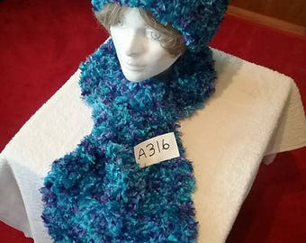 Purple Blue Fuzzy Scarf and Hat Set