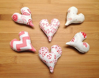 Valentine's Day Pink and White Hearts Ornaments Primitive Bowl Fillers Holiday Decorations