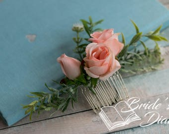 Wedding hair jewelry, hair comb with fabric flowers, bridal comb with artifical flowers