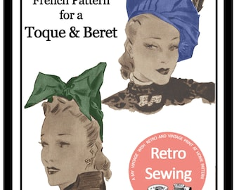 1930s Vintage French Sewing Pattern - Hat & Beret - Paper Pattern