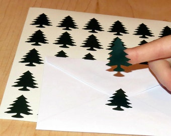 lumberjack party invitation envelope seals, pine trees, woodland, wild one, card labels, wedding favor card vinyl decals, 30CT DIY