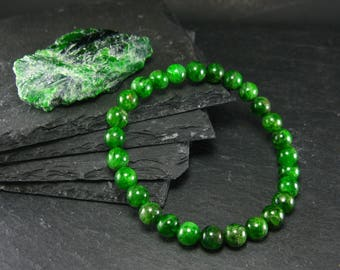 Chrome Diopside Genuine Bracelet ~ 7 Inches  ~ 7.5mm Round Beads