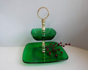 Vintage Forest Green glass server Two tier green tidbit tray