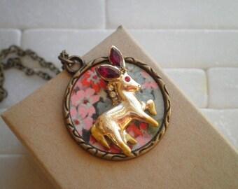 Vintage Donkey & Flowers Charm Necklace - Floral Paper Ephemera Mini Pet Donky Diorama Pendant - Retro Flower Garden Art Animal Jewelry Gift