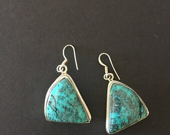 Vintage Turquoise Dangle Earrings, Sterling Silver