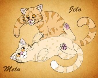 Cartoon Pet Portrait (Two Pets A4 Digital Print + free digital copy)