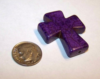 CROSS Purple Medium Howlite Stone, Backpack, Frames, Purse, Keychain Charms, Craft, Jewelry Supply
