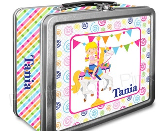 Carousel Horse Classic Tin Lunch Box with or without Side Wrap | Back To School | Personalized | Image on Both Sides | Keepsake Box