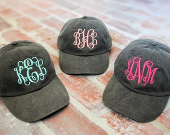 Monogrammed hat, monogram cap, monogram baseball hat, bridesmaid hat, personalized hat, hat with monogram, baseball hat, beach hat monogram