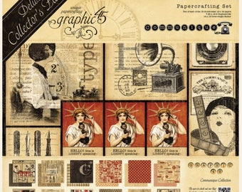 "Graphic 45 ""COMMUNIQUE"" Deluxe Collector's Edition DCE Scrapbooking"