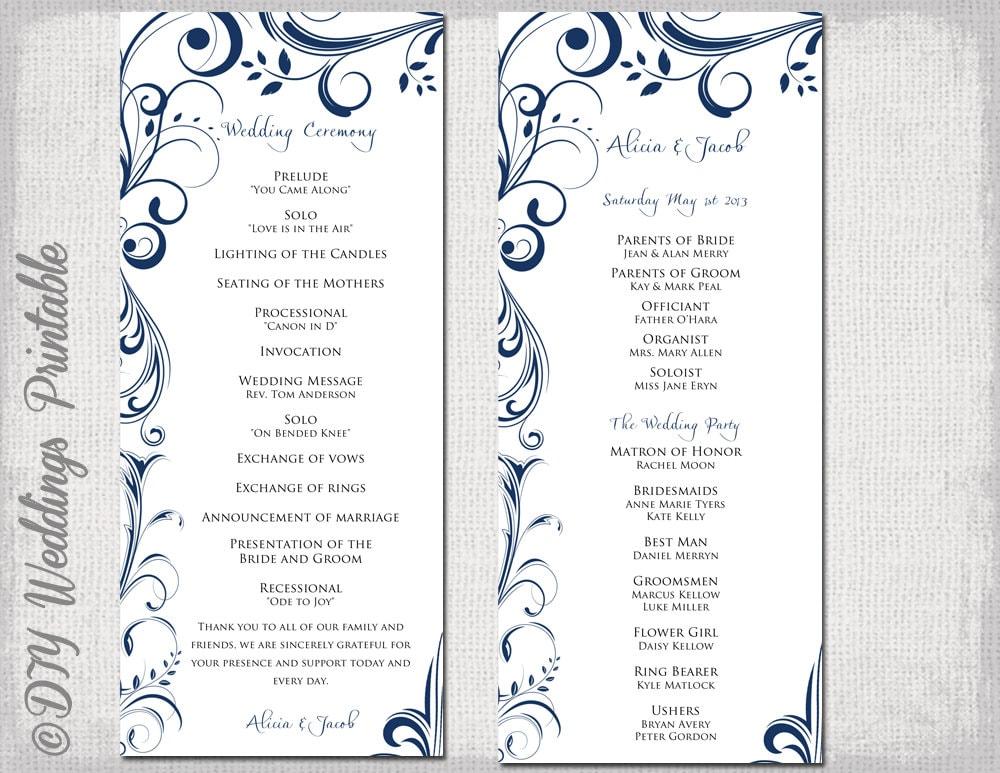 wedding program template navy blue instant download