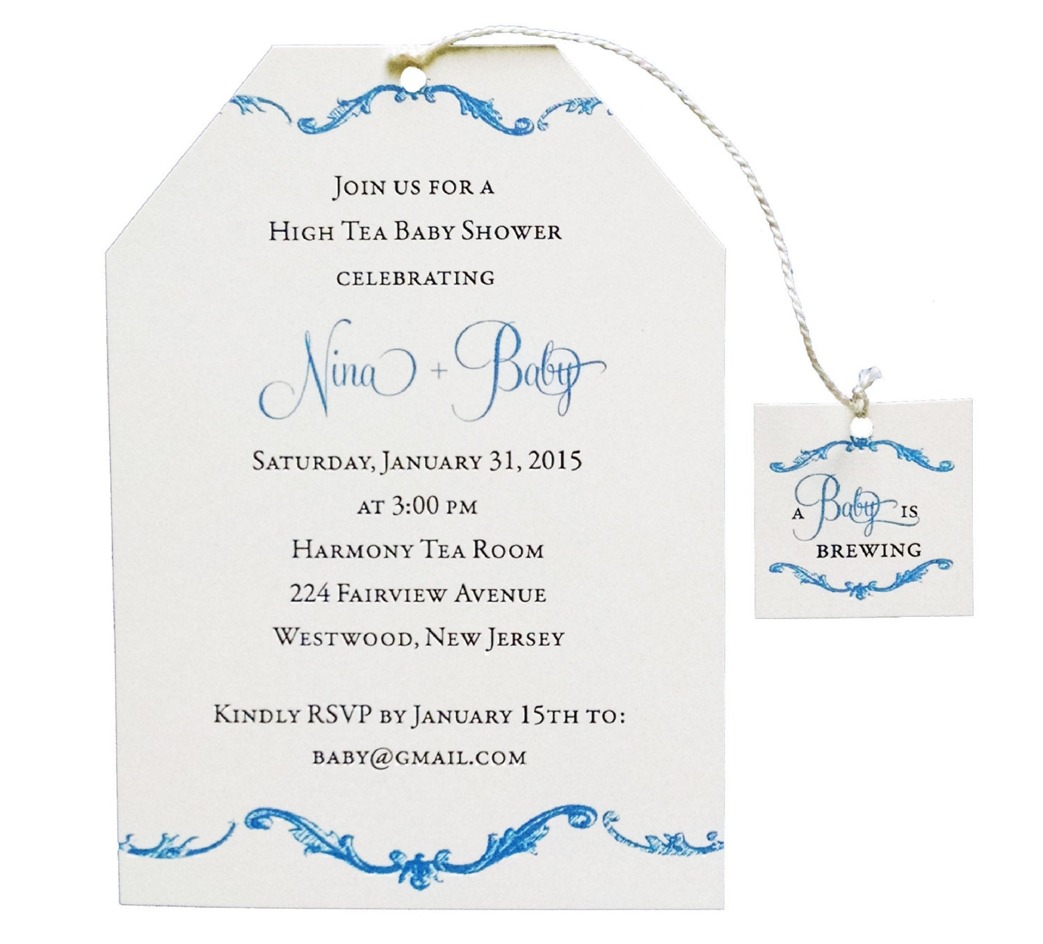 High Tea Baby Shower Invitation Boy