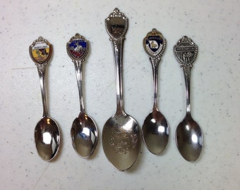 """Vintage Silver Souvenir Collectible Spoons Missouri Texas Maryland South Carolina Five Spoons 3.45"""" to 4.35"""" Previously 14 Dollars ON SALE"""
