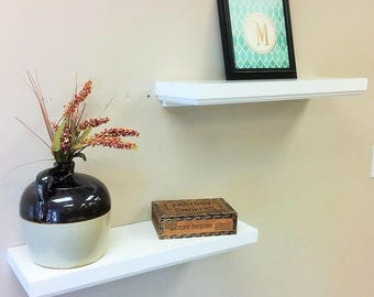 """White Floating wall shelves, White Satin Finish Wall Shelves, Roman ogee decorative trim, Showing 2 - 24"""" x 8"""" (pictured), Select options"""