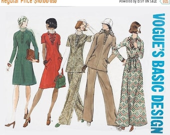 ON SALE Vintage 1970s Mod Midi or Maxi Dress Tunic and Pants Sewing Pattern Vogue Basic Design Pattern 2949 Size 12 Bust 34