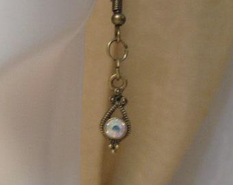Cubic zirconia drop earrings, bronze and cubic zirconia drop earrings