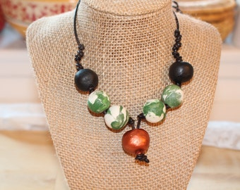 Copper green necklace, Eco Friendly handmade clay beads