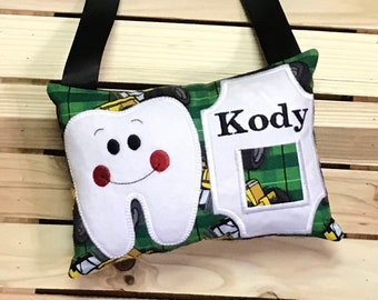 Personalized Tooth Fairy Pillow- Tractor- J0200