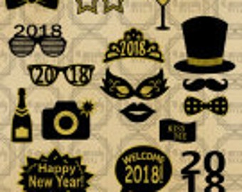New Years Eve Photo Booth Props SVG, Cut File, New Years Eve Party, Photo Booth. Cut file, cricut, sihlhouette, new Year, 2018