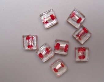 8 red 12 mm square glass beads.