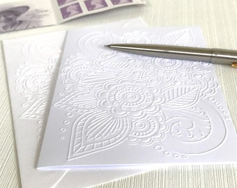 Henna Note Cards with Envelopes (No.22) - Pack of 6 White Embossed Blank Cards. Henna cards. Mehndi cards.