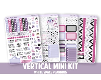 1069-WSK // Vertical 4 Piece White Space Planning Mini Kit // Diamond Collection // Planner Stickers