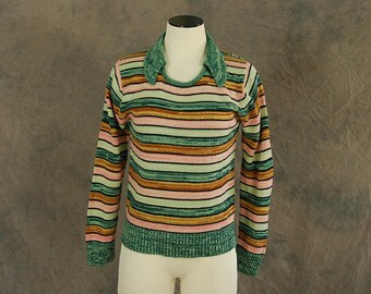 Clearance SALE vintage 70s Space Dyed Sweater - 1970s Boho Striped Pullover Sweater SZ S M