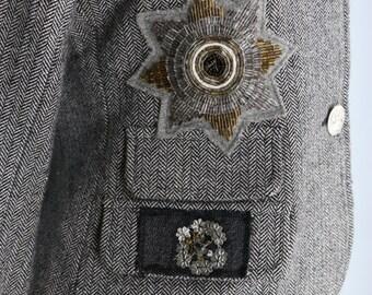 1990s Blazer - Grey Embellished Blazer - Herringbone Tweed - Italian Wool Blazer - Silver Metallic Thread - Size Small Medium