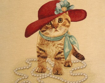 Coupon fabric Panel tapestry CAT LADY