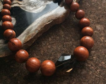 Wood and Smoky Quartz Statement Necklace