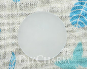 Circle Frosted Glass Cabochon Cameos 30x30mm - 10Pcs - AD26173