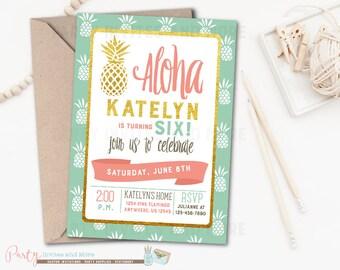 Aloha Birthday Invitation, Luau Birthday Invitation, Pineapple Birthday Invitation, Aloha, Pineapple, Luau Invitation, Summer, Gold