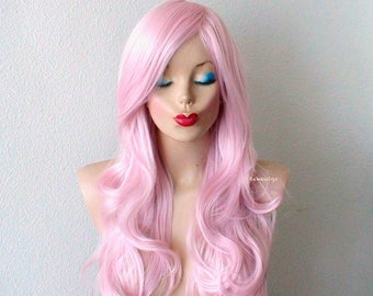 Pink wig. Lace front wig. Pastel baby pink wig. Long curly hairstyle wig. Durable heat friendly wig for everyday wear or Cosplay.