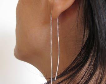 Paar aus Sterling Silber Kette, Ohrringe, lange Einfädler Ohrringe, minimalistische Ohrringe, zarte Ohrringe