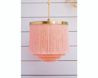 Fringe Light *P I L L O W   T A L K* Lampshade in Softest Shell Pink and Brass Largest Size