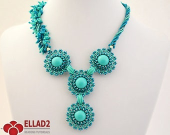 Tutorial It Just Blooms Necklace - Beading tutorial, Beading Pattern, Necklace Tutorial, Ellad2, Instant download