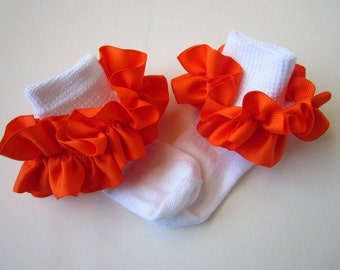 Orange Ruffled Ribbon Socks