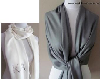 Dark Gray Pashmina Scarf Wedding Wrap Wedding Shawl Bridal Scarf Pashmina Bridal Shawl, Bridesmaid Gift Idea - or CHOOSE Your Color