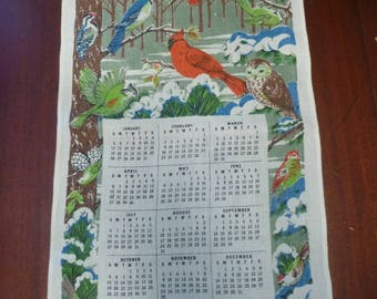 Vintage 1975 Calender Dish Towel With North American Birds, 1975 Bird Calender Wall Hanging  (T)