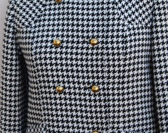 Vintage Black and White Houndstooth Jacket with Gold Buttons and Red Lining By Jr. Scene By GlenHaven