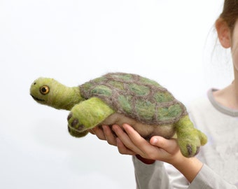 Felted Animal Turtle Toy- Hamlet the Giant Tortoise Turtle - Foot Long Wool Pet - Needle Felted Animal