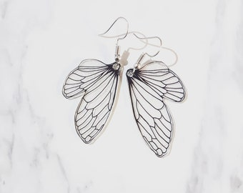Hand drawn Insect Wings | Dangly Drop Earrings | Transparent Wings