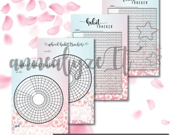 Mini Happy Planner   Personal   A6 Size  Habit Tracker and Wheel Tracker in Cherry Blossoms