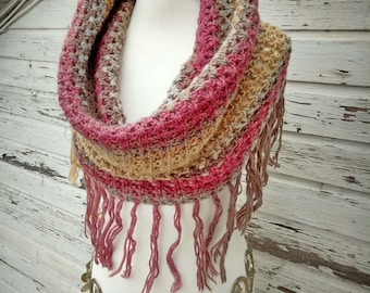 Loop with fringe * Fringe loop * Hippie style * 100% wool