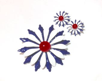 Gorgeous Vintage Red, White and Blue Flower Pin with Earrings