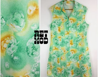 Sweet Vintage Green & Yellow-ish Floral Polyester Scooter Dress!
